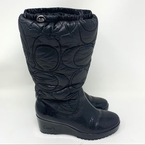 Coach Cantina Black Rain Snow Wedge Boots